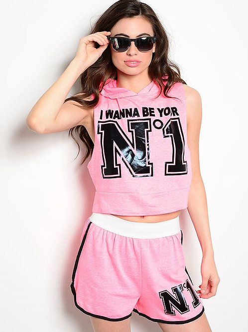 NEON PINK TOP & SHORT SET WITH HOODED