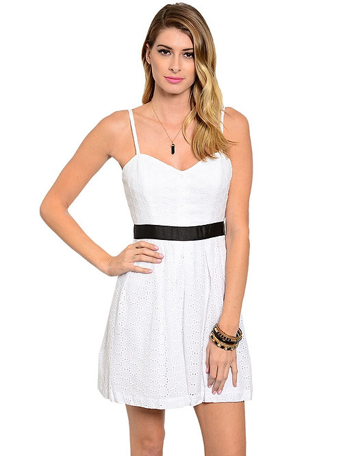 PAPER DOLL WHITE DRESS WITH BLACK LACE BELT