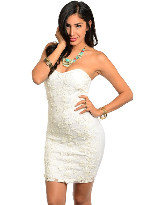 EASEL STRAPLESS IVORY DRESS WITH LINING