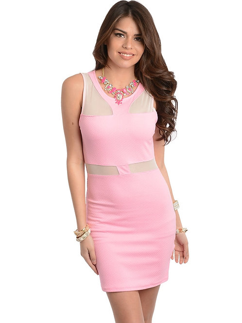 TRUE LIGHT PINK DRESS WITH MESH