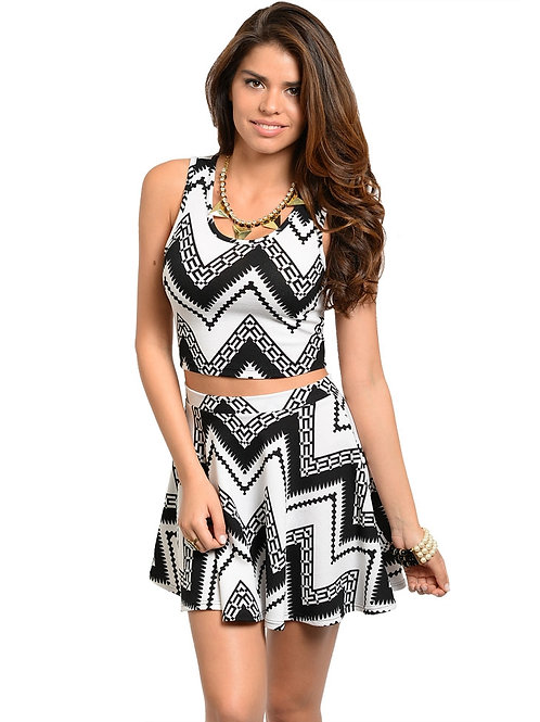 SUMMER FUN BLACK WHITE TOP & SKIRT SET