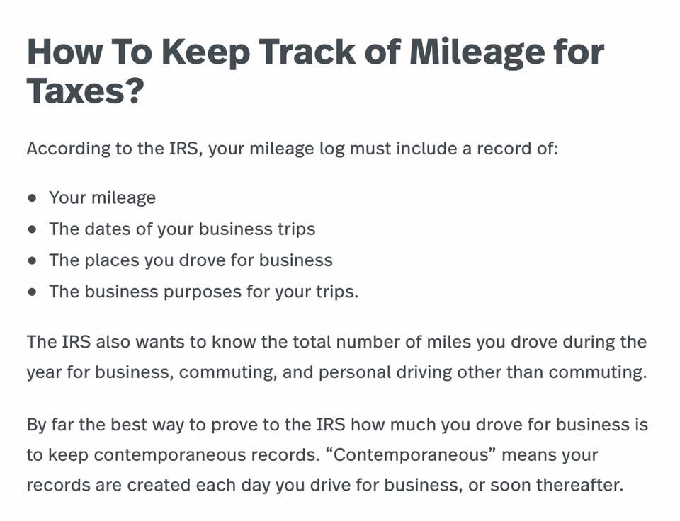 How to track your mileage