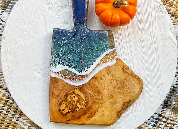 Small Live Edge Olivewood Serving Board with Handle