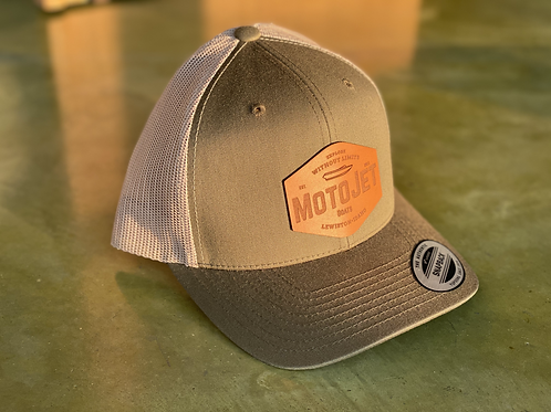 MotoJet Leather Patch Hat | Green/Khaki