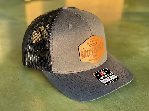 MotoJet Leather Patch Hat | Charcoal/Black