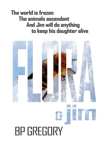 Cover image Flora & Jim, BP Gregory. A bee on snow.