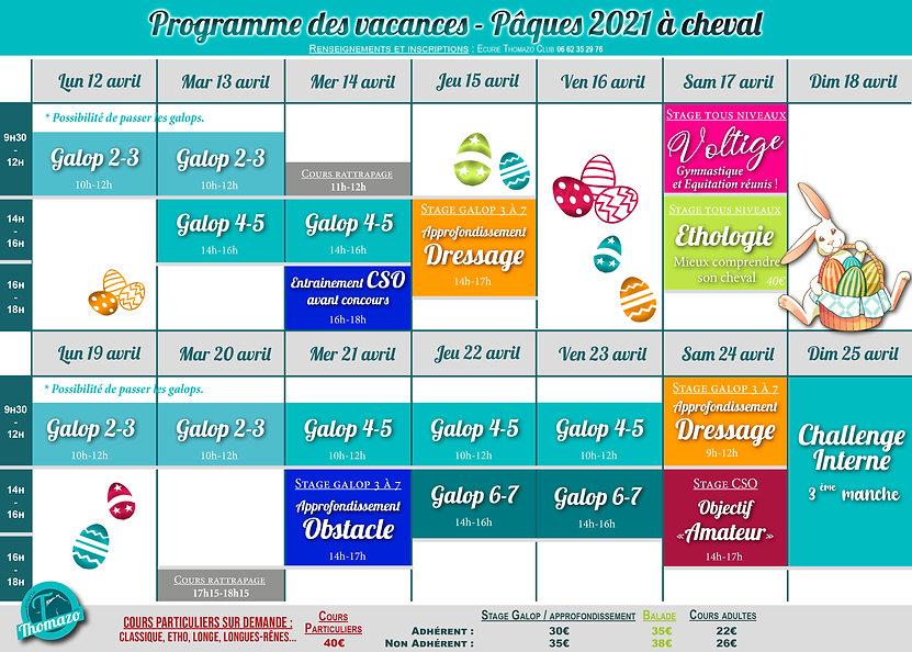 Programme des vacances de PAQUES 20212.j