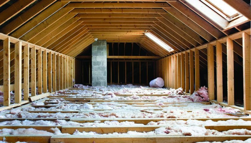 Image of attic with insulation in the floor