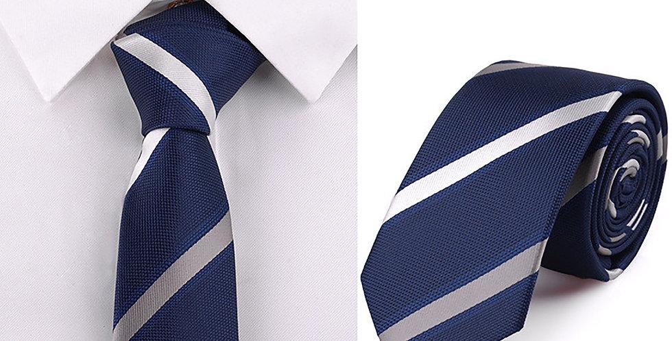 Navy Silver-Gold Stripe Tie