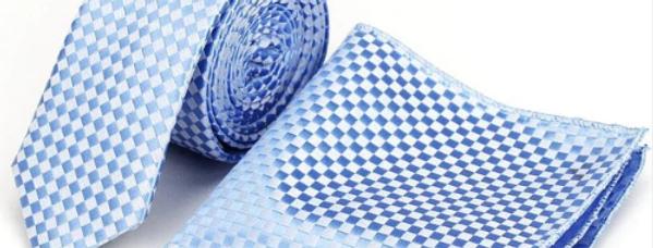 Sky Blue Checkered Combo - Neck Tie & Pocket Square