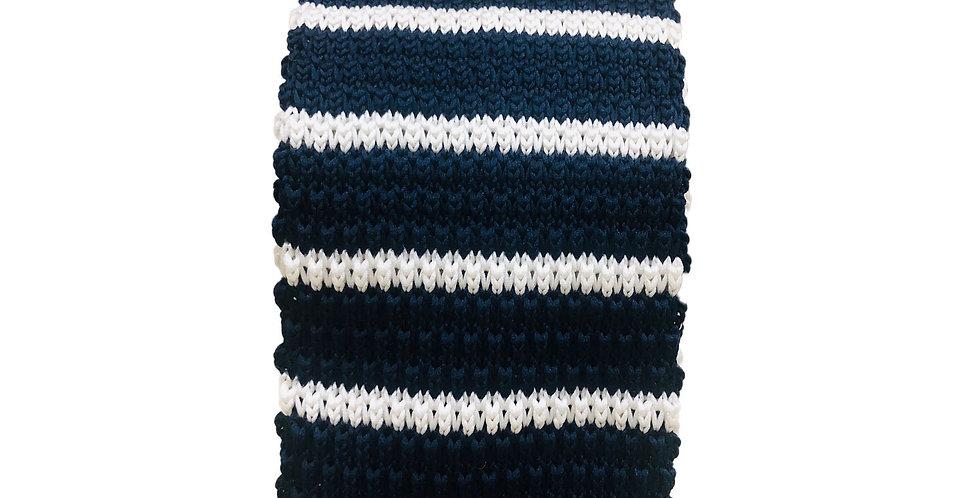 Navy White Stripe Knitted Neck Tie