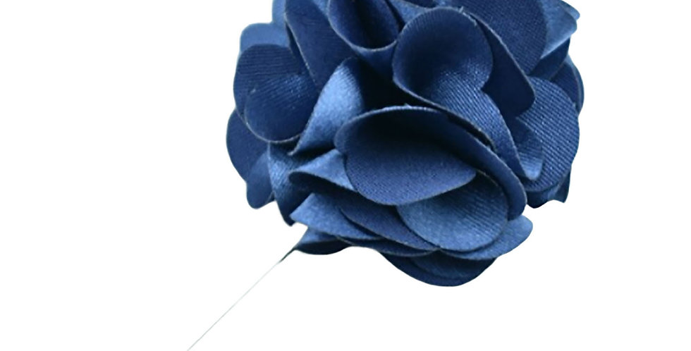 Navy Satin Floral Lapel Pin