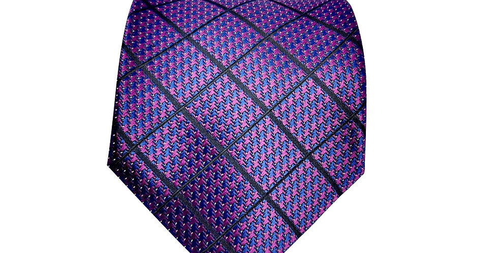 Purple Big Check Tie