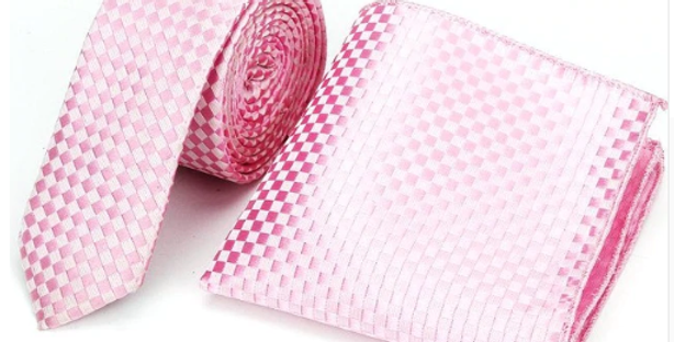 Baby Pink Checkered Combo - Neck Tie & Pocket Square