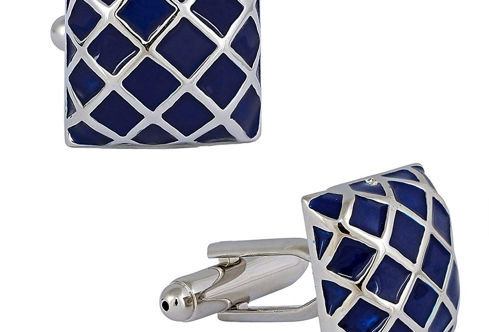 Checkered Navy Square Cuff-link