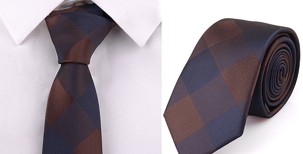 Brown - Navy Checkered Tie