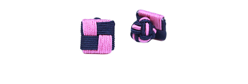 Pink-Navy Checkered Fabric Cufflink