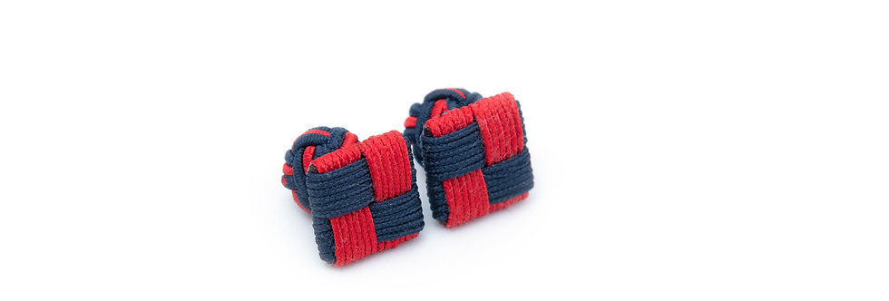 Red-Navy Square Fabric Cufflink