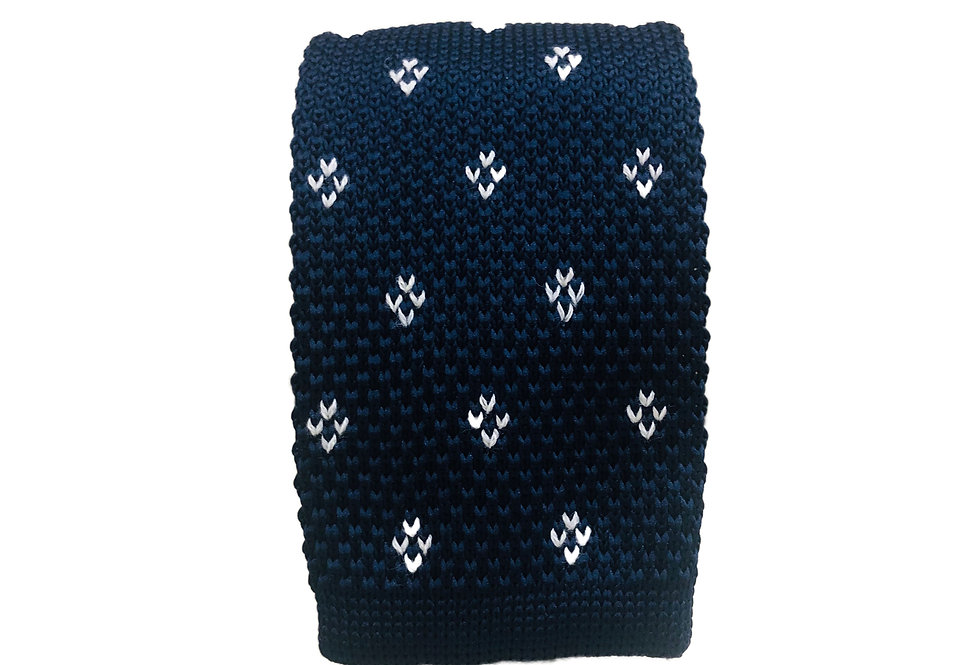 Navy Floral Solid Knitted Neck Tie