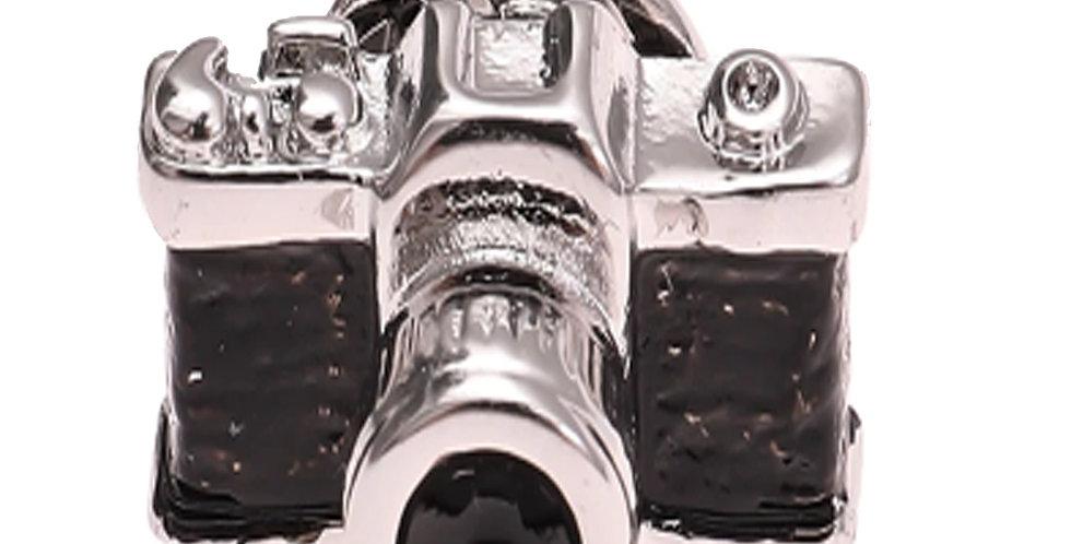 Camera Black Silver Metallic Brooch