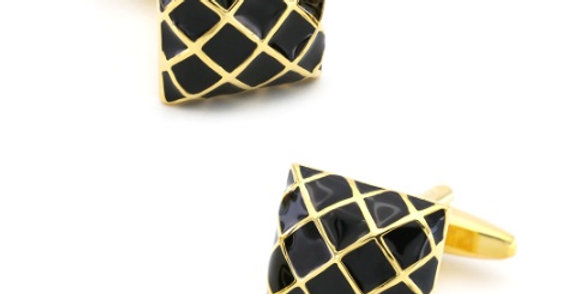 Checkered Black & Gold Cuff-link