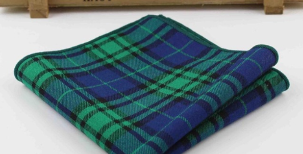 Green Checks Pocket Square