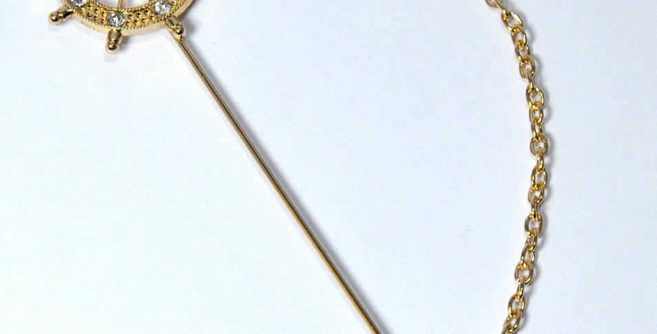 Rudder Ship Wheel Lapel Pin