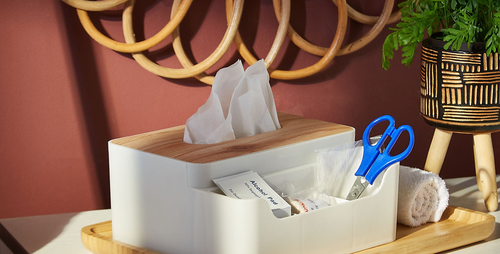 Trends Tissue Box with Organizer (Wood)