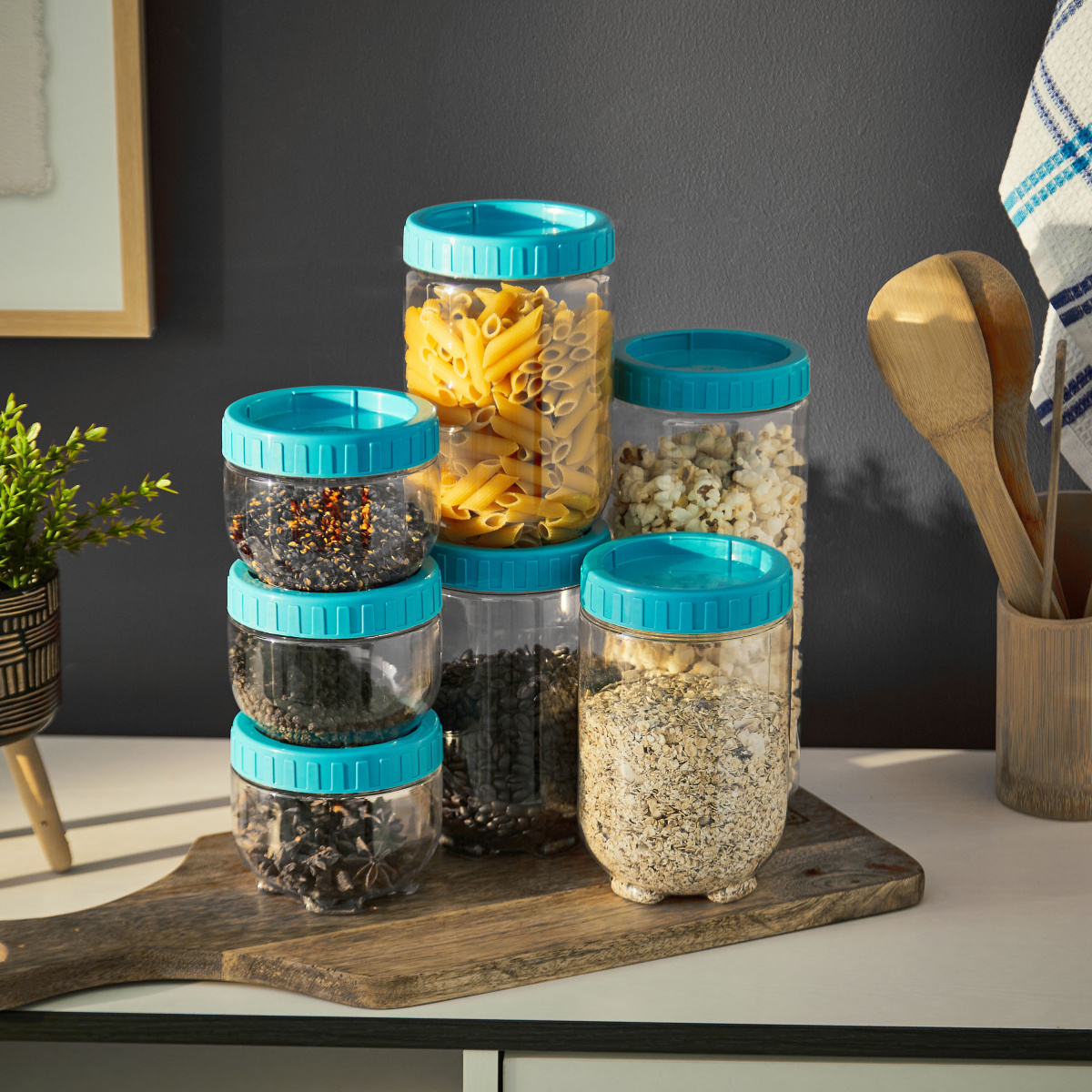 Stack n Store 7pc Jar Set (Aqua Blue)