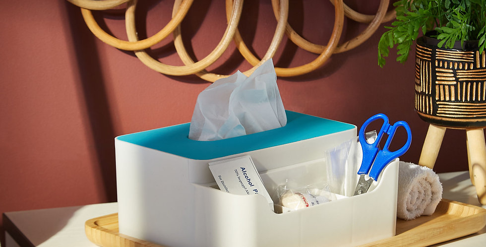 Trends Tissue Box with Organizer (Aqua Blue)