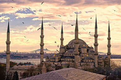 Sunset over The Blue Mosque, (Sultanahme