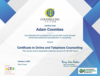 Online and phone therapy certified