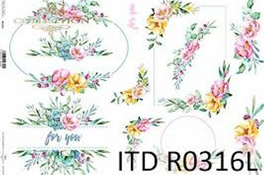 Floral Borders- Rice Paper A3 Size