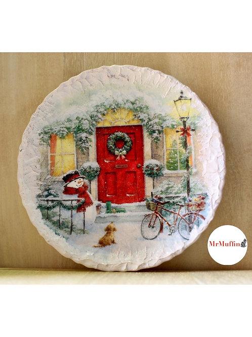 SnowMan Christmas Plate for Decor