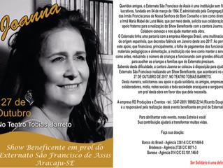 Confirmado! Cantora Joanna fará Show Beneficente em prol do Externato.
