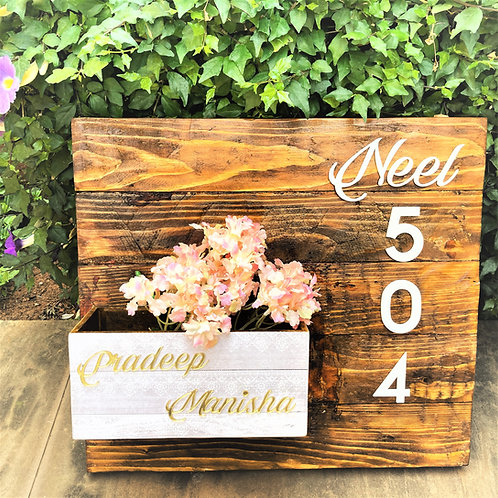 Wooden Name Plate With Plant Box