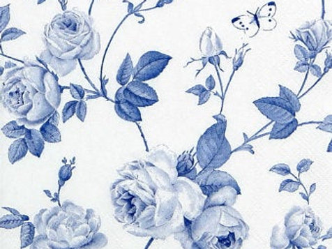 Rambling Rose White Blue- Decoupage Napkin