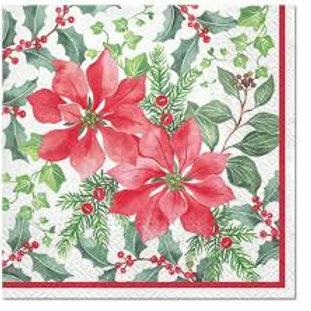 Beautiful Poinsettia- Decoupage Napkin
