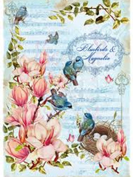 Blue Birds & Magnolia- Rice Paper