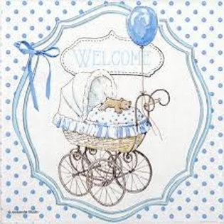 Welcome Blue - Decoupage Napkin