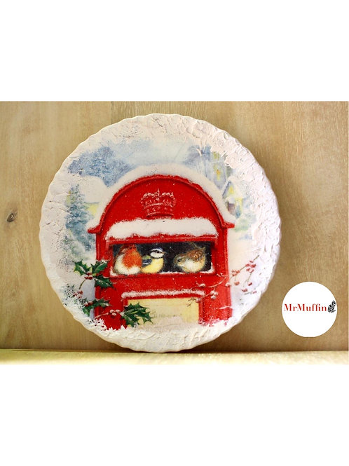 PostBox Christmas Plate for Decor