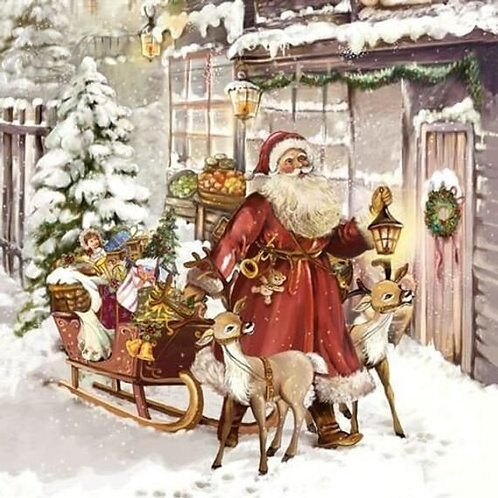 Christmas Visit- Decoupage Napkin
