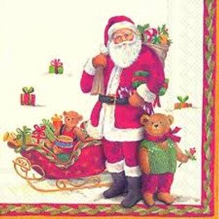 Santa and Teddy - Decoupage Napkin