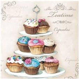 Cupcakes on Etagere - Decoupage Napkin