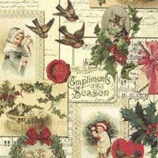 Compliments of the Season - Decoupage Napkin