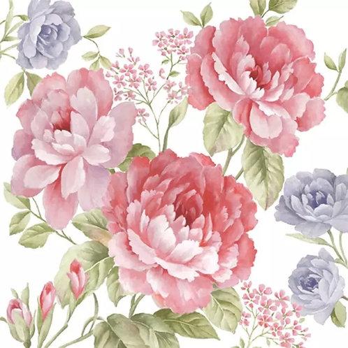 Pink Rose Flower Bunch- Decoupage Napkin