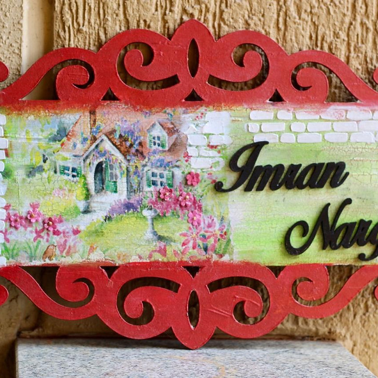 Custom Name Plate with Crackle Effect and Texturing