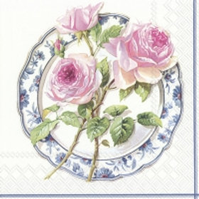 Rose For Lunch White - Decoupage Napkin