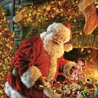 Santa Claus By Fireplace- Decoupage Napkin