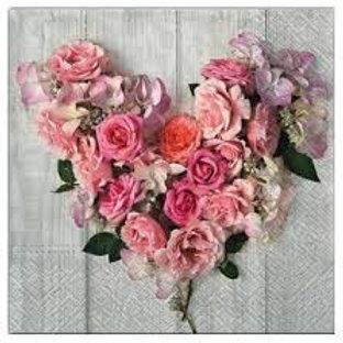 Floral Heart - Decoupage Napkin